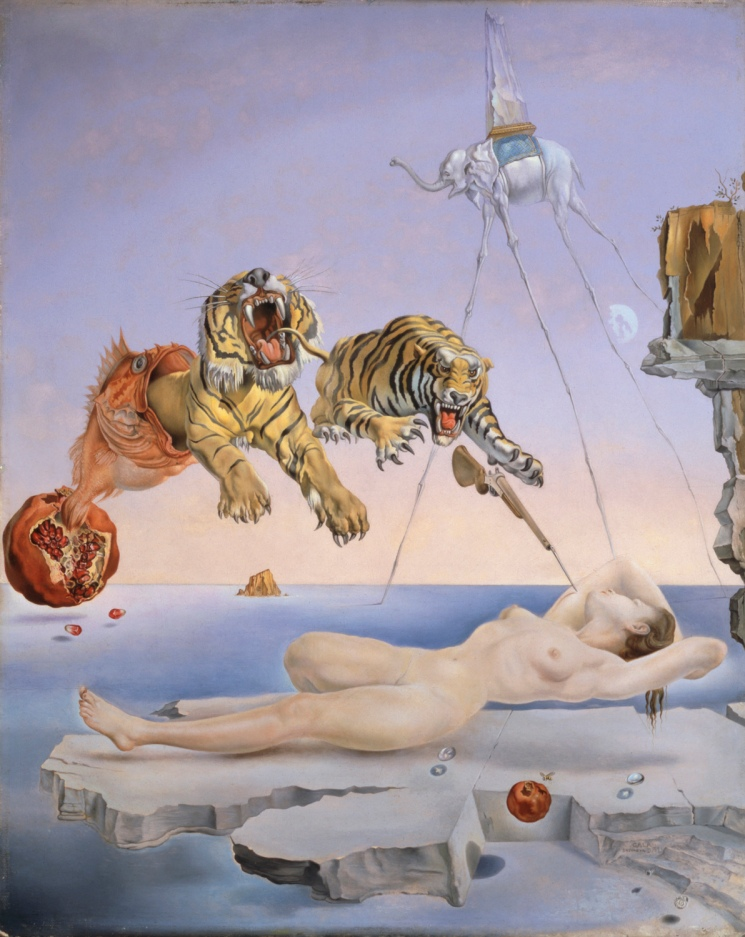 "Salvador Dali, Park West Gallery""Dream Caused by the Flight of a Bee around a Pomegranate a Second Before Awakening"" (1944), Salvador Dali. Thyssen-Bornemisza Museum, Madrid. ©Salvador Dalí, Gala-Salvador Dalí Foundation/Artists Rights Society (ARS), New York"